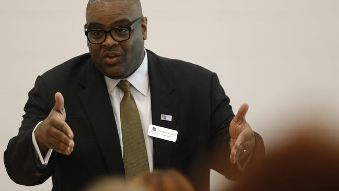 FILE - Demond Means, superintendent of Athens-Clarke County Schools, speaks at the Athens Anti-Discrimination Movement on Sept. 22, 2018.