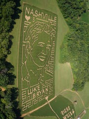 Honeysuckle Hill Farm's 12th annual corn maze is a 7,000-foot-wide tribute to country music artist Luke Bryan.