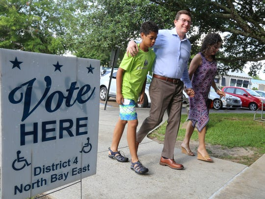 State Rep. David Baria walks to the Hancock County