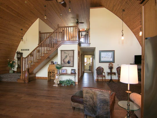 The great room of the Waldecker home, shown Thursday,