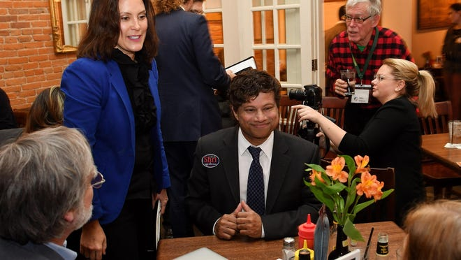 Democratic gubernatorial candidates Gretchen Whitmer, left, and Shri Thanedar on Tuesday, May 29, 2018, unveiled their economic plans for Michigan.
