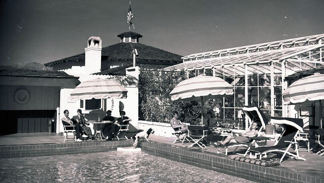 Palm Springs Racquet Club pool area, circa 1948.