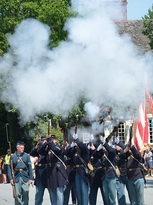 Re-enactors of the 1st Delaware Regiment help bring Separation Day its historical flavor.