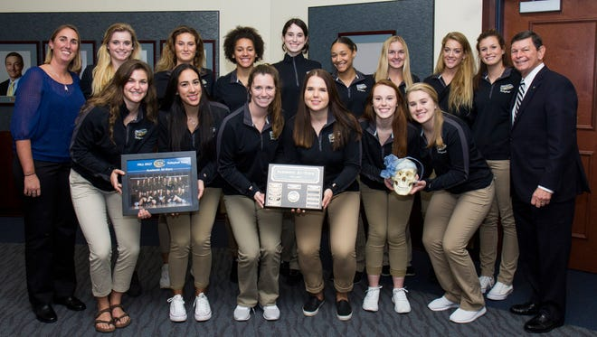 The IRSC Volleyball team receives the annual Skull Award as the 2017 Academic All-Stars, with team members earning an average 3.56 GPA.