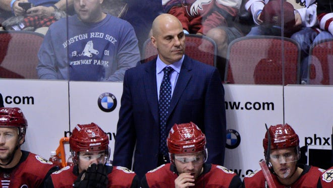 Oct 14, 2017: Arizona Coyotes head coach Rick Tocchet looks on during the first period against the Boston Bruins at Gila River Arena.
