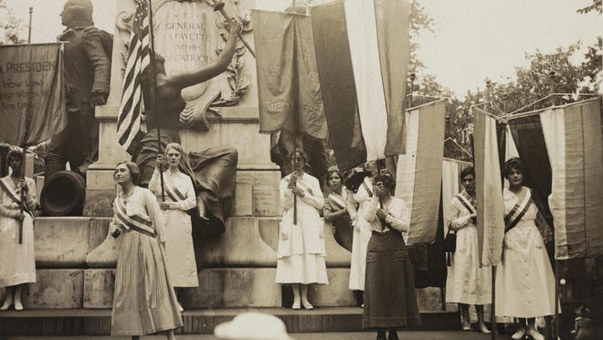 A Women's Suffrage demonstration at Lafayette Statue in Washington, D.C. on Sept. 16, 1918 in the months before the 19th Amendment was adopted by Congress in 1919.