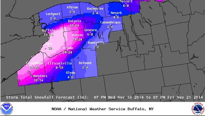 More than 30 inches of additional snow is forecast for  most of Erie County, N.Y., by 7 p.m. Friday