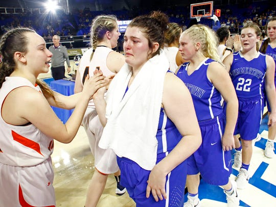 Summertown's Tatum McGill, right, congratulates Greenfield