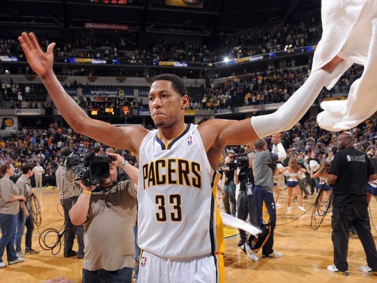 Indiana Pacers Danny Granger celebrates the Pacers
