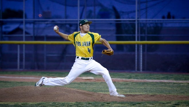Mayfield pitcher Ethan Alvarado delivers against Gadsden in Tuesday's District 3-6A baseball game at the Field of Dreams Baseball Complex.