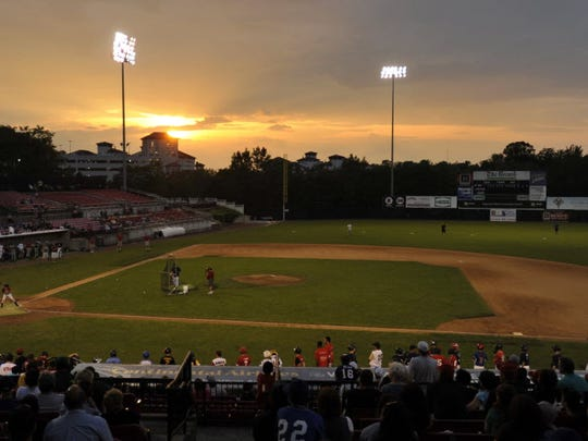 Yogi Berra Stadium in Little Falls at sunset in 2010.