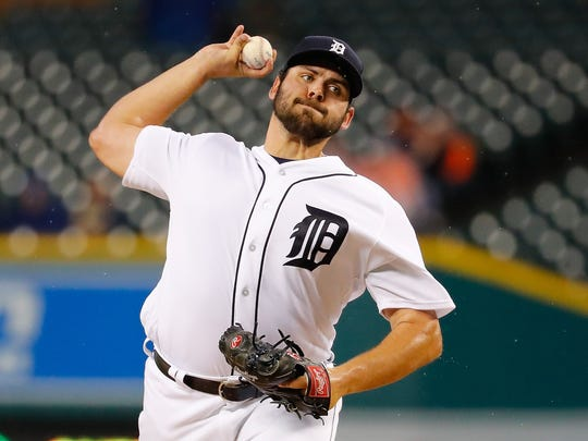 Detroit Tigers pitcher Michael Fulmer throws during the first inning of the game against the Cleveland Indians on September 28, 2016 at Comerica Park in Detroit.