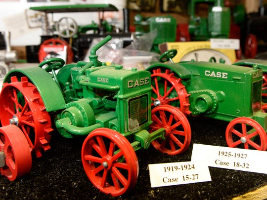 Close-up of 1919-27 Case toy tractors, part of Dale Swoboda of Two Rivers' farm toy collection.