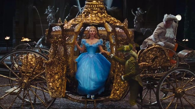 Screen grab of youtube video 'Disney's Cinderella Official US Trailer' Pictured: Lily James as Cinderella Web to Watch - Cinderella Trailer Disney wants to see if the glass slipper still fits. There's a new trailer online for the upcoming Cinderella starring Cate Blanchett, Lily James and Helena Bonham Carter. The film hits theaters March 13. youtube.com/DisneyMovieTrailers