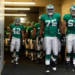 The last time the Eagles wore kelly green uniforms was the season opener in 2010 against the Green Bay Packers. Eagles president Don Smolenski says the team is considering bringing them back as alternates to their regular midnight green uniforms.