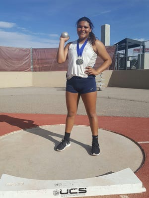 Aysia Salas tallied first place in both the shotput and discuss events in the past two meets. She has a state leading throw in the shot, while her discus toss is second-best overall in the state right now.