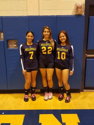 Belleville girls volleyball captains (from left) Natasha Sanchez, Susan Asali and Justine Areola.