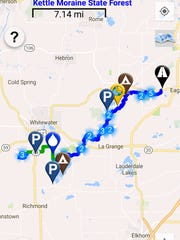 The Mammoth Tracks app provides maps and information for the 1,200-mile Ice Age Trail through Wisconsin.