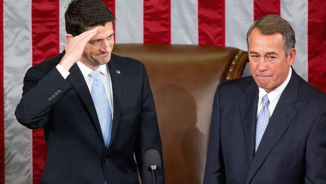 New House Speaker Paul Ryan and predecessor John Boehner.