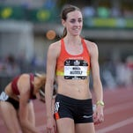 Molly Huddle reacts after winning the womens 10,000m in 31:39.20  in the 2015 USA Championships at  Hayward Field.