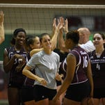 UMES celebrates after wins over Loyala (Md.) and Manhattan College this weekend. UMES is off to school record 10-0 start.