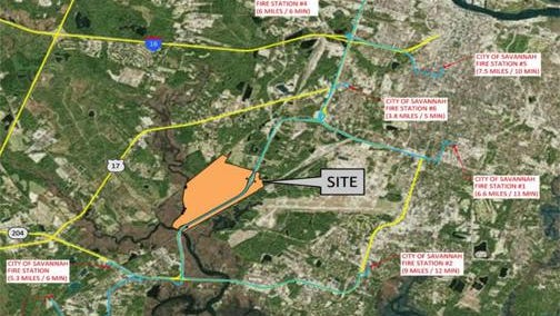 A map of the proposed Rockingham Farms site between Veterans Parkway and Hunter Army Airfield in unincorporated Chatham County.