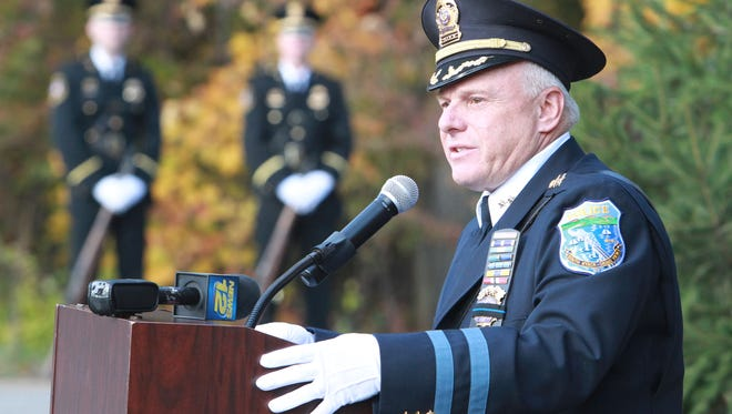 South Nyack-Grand View Police Chief Robert Van Cura speaks during the 31st annual Brinks robbery memorial ceremony in Nyack on Oct. 20, 2012.