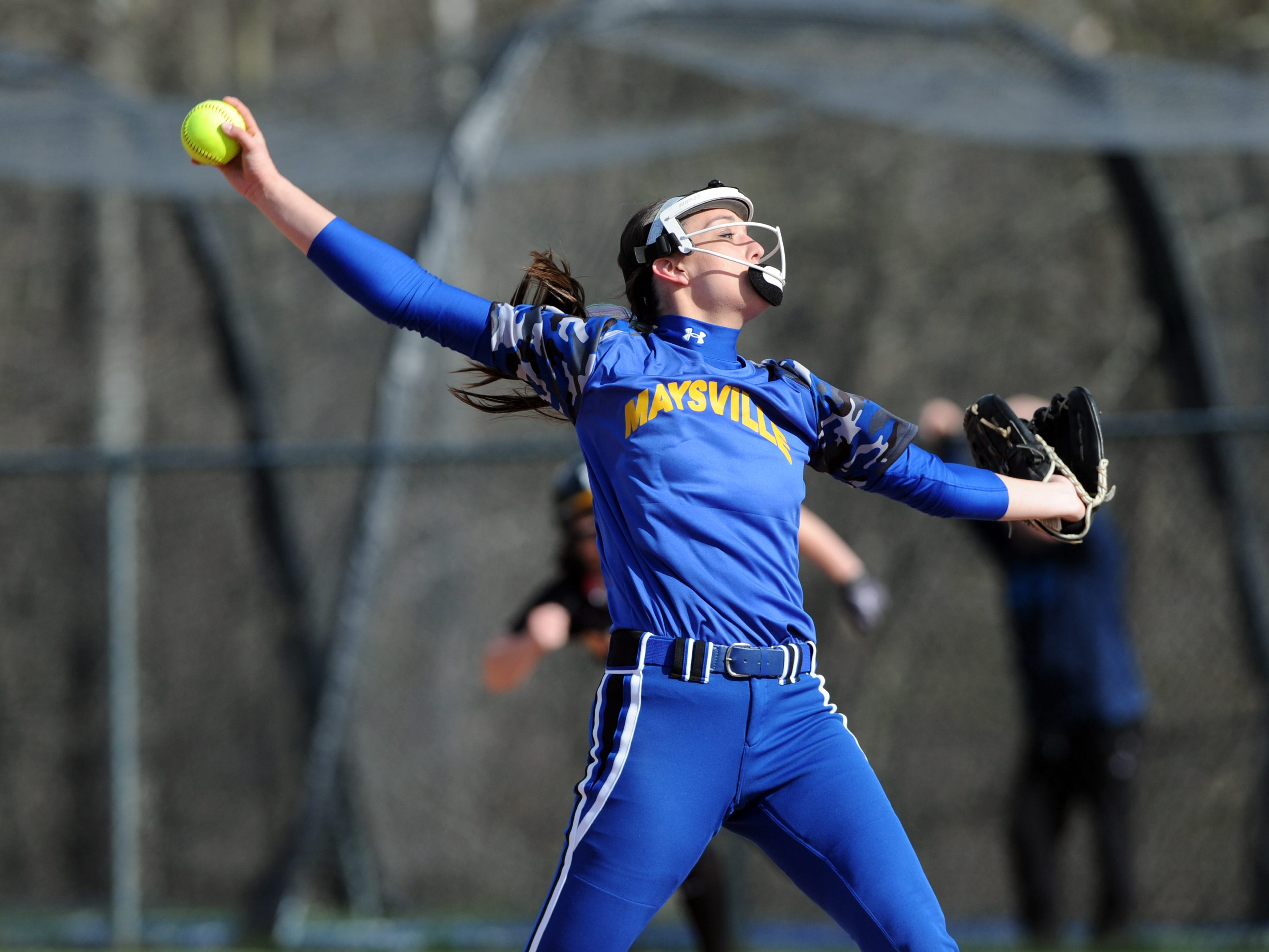 Maysville's Madison Riggle pitches against Tri-Valley. The Panthers shut out the Scotties 5-0 on Wednesday night.