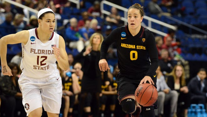 Florida State's Brittany Brown, left, and ASU's Katie Hempen will meet again in a NCAA Sweet 16 rematch in Tempe.