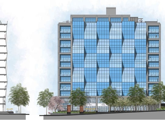"Rendering of 440 Hamilton Avenue luxury apartment building as seen from North Broadway in White Plains. The former AT&T office building conversion is part of a trend of Westchester communities approving the ""re-purposing"" of properties."