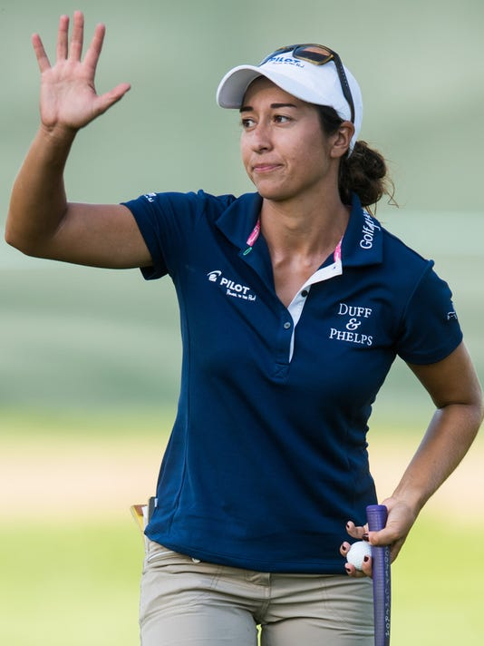 Marina Alex waves after finishing her round on the 18th hole during the second round of the U.S. Women's Open Championship at Lancaster Country Club on Friday, July 10, 2015. Alex remains in fourth place at 3-under par. Jeff Lautenberger Ñ For The Daily Record/Sunday News