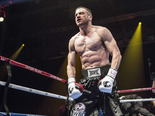 """Jake Gyllenhaal as Billy """"The Great"""" Hope in the film """"Southpaw."""" For the role, Gyllenhaal trained six hours a day, seven days a week for six months, running, jumping, weightlifting and sparring under the tutelage of former boxer Terry Claybon."""