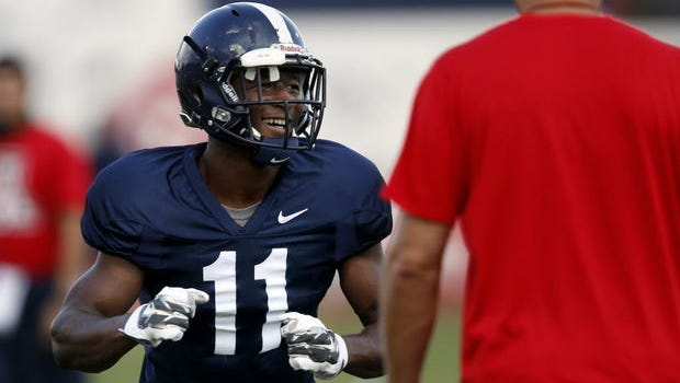 """Safety Will Parks gets the Wildcats to do the shimmy before they break from stretching. Coach Rich Rodriguez says he's """"the first guy that comes to mind"""" when it comes to filling the shoes of Tra'Mayne Bondurant, who helped beat Colorado, Utah and Cal last season with critical takeaways."""