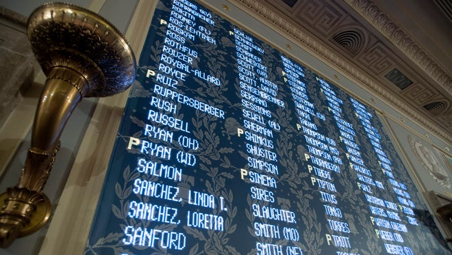 House members votes are projected on a wall above the House floor.
