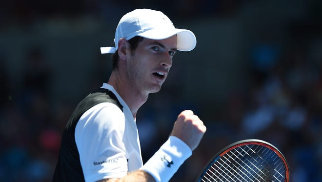 Andy Murray of Britain gestures as he plays against Alexander Zverev of Germany during their first round match on day two of the Australian Open.