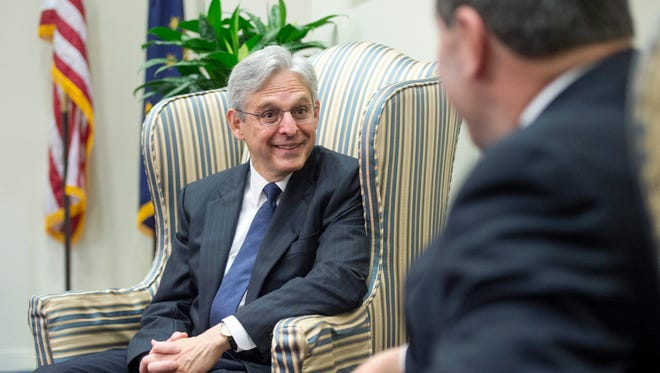 Supreme Court nominee Merrick Garland met with Sen. Joe Donnelly, D-Ind., on Capitol Hill on Monday, March 28, 2016.  Senate Republican leaders have pledged not to consider a nominee in the last year of President Barack Obama's term.