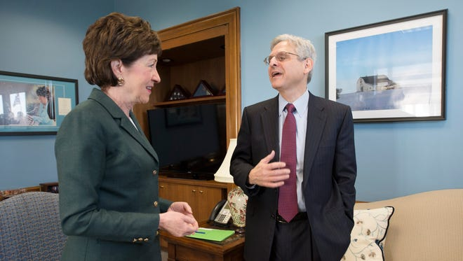 President Obama's nominee to the Supreme Court, Judge Merrick Garland, meets with Sen.Susan Collins, R-Maine, on Capitol Hill Tuesday. Garland faces a difficult prospect of a confirmation hearing as Senate Republican leadership has pledged not to consider a nominee in Obama's last year as President.