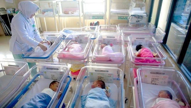 Babies in Jakarta, Indonesia.