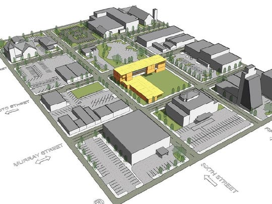 An architectural rendering of Central Louisiana Technical Community College's new main campus in downtown Alexandria.