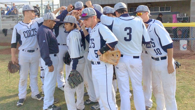The Silver High baseball team gets ready to go out onto the field after scoring three runs in the second inning of Friday's baseball game.