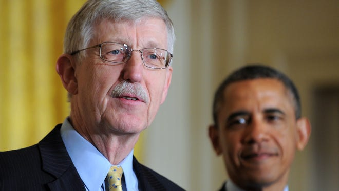 Director of the National Institutes of Health Francis Collins with President Obama
