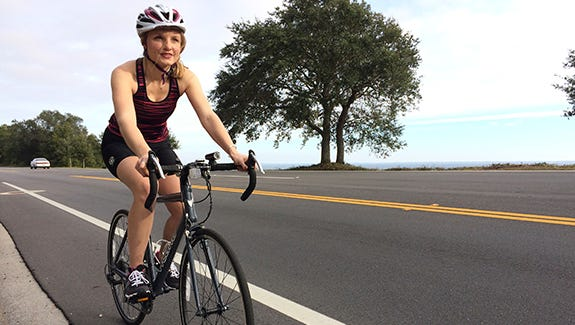 Kasey Jones cycles in Pensacola's scenic outdoors regularly to stay fit year-round.