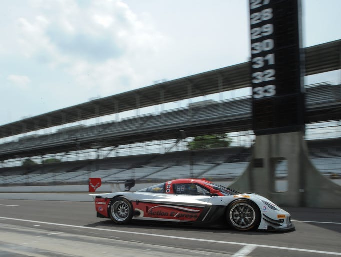 The Action Express  Racing  Corvette Prototype leave the pits during  a TUDOR United SportsCar Championship Series  test sessionThursday,  June 19, 2014  at the Indianapolis Motor Speedway