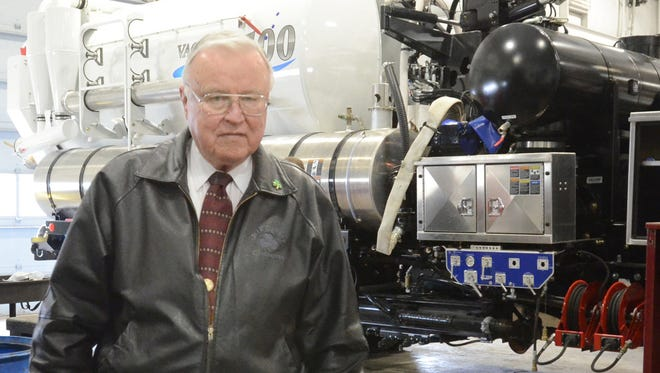 Jack Doheny, in a Northville Record photo from 2013, with a Vactor 2100. The truck, which runs about $500,000, is used to clean up oil and hazardous materials spills and to clear jammed sewers.