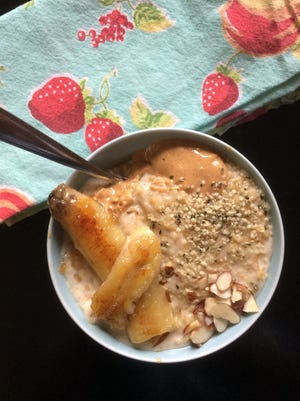 Vanilla Almond Oatmeal with Maple Fried Bananas will please kids and adults at your breakfast table.