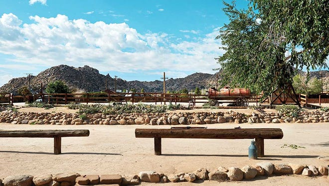 Pioneertown Motel boasts an epic view of the rocky mountain backdrop.