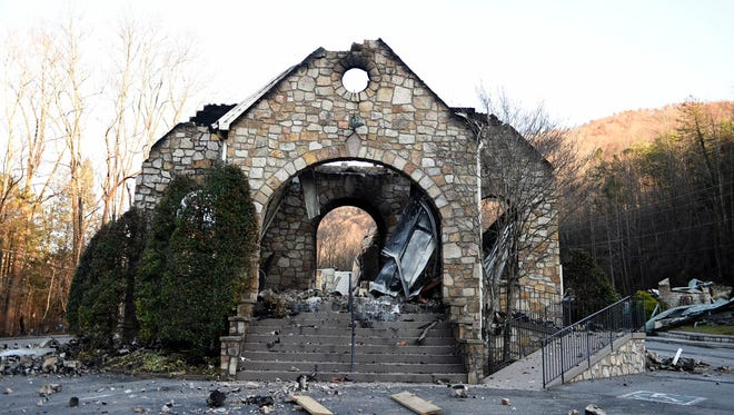 Destruction at the Roaring Fork Baptist Church in downtown Gatlinburg after wildfires in Pigeon Forge and Gatlinburg, Tenn. earlier in the week, Friday, Dec. 2, 2016. (Amy Smotherman Burgess/Knoxville News Sentinel)