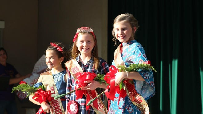 Pictured from left to right are, first runner-up Addyson Hogge, 2017 Miss Pre-Teen Corn Festival winner Dana Curry, and second runner-up Jadyn Butts.