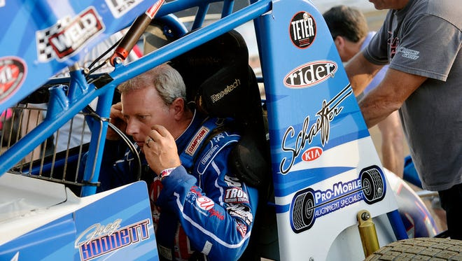 """""""Pennsylvania Posse driver Greg Hodnett prepares to enter the track on Friday, July 24, 2015, during the first night of Summer Nationals at Williams Grove Speedway in Mechanicsburg. The event, pitting the Pennsylvania Posse against the World of Outlaws, featured 39 drivers."""
