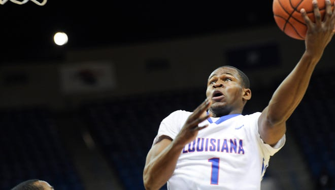Louisiana Tech freshman point guard Derric Jean goes up for a layup Thursday night against Old Dominion.